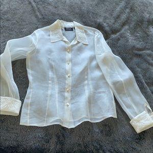 Dana Buchman silk Vintage Sheer Blouse